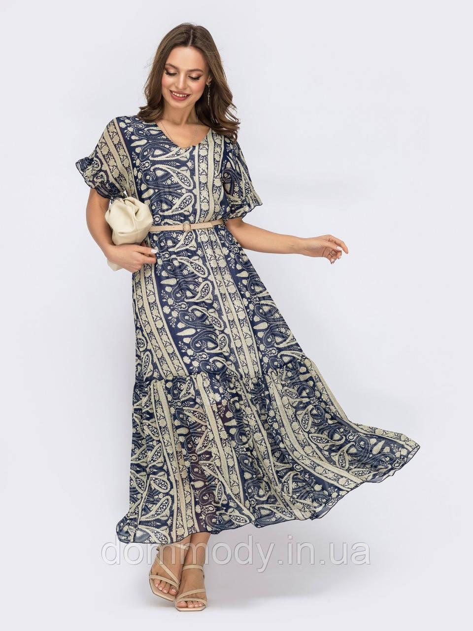 Сукня жіноча з принтом з расклешенною спідницею