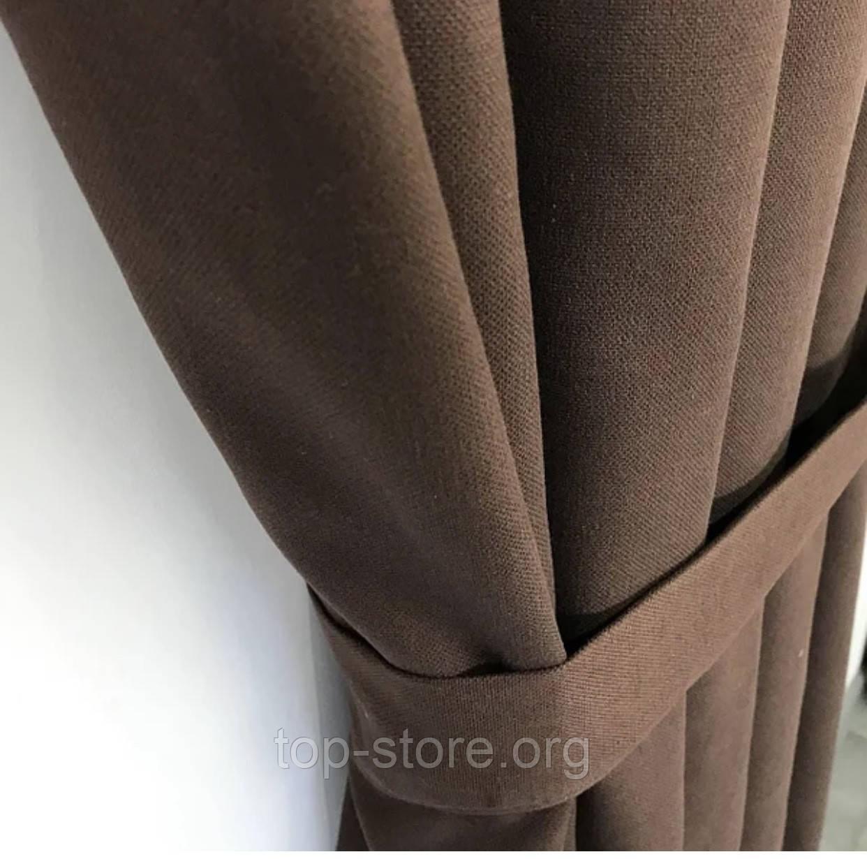 Комплект штор на тасьмі Штори 200х270 штори мікровелюр Штори з підхватами Колір Шоколадний