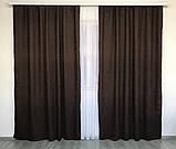 Комплект штор на тасьмі Штори 200х270 штори мікровелюр Штори з підхватами Колір Шоколадний, фото 3