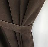 Комплект штор на тасьмі Штори 200х270 штори мікровелюр Штори з підхватами Колір Шоколадний, фото 4