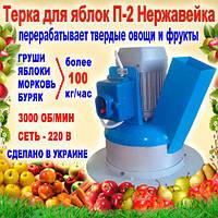 Кормоізмельчітель П-2 для фруктів і овочів, нержавійка (электротерка для яблук, буряка, картоплі)
