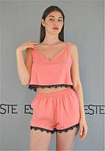 Пижама с кружевом топ и шорты Este штапель 230-персиковая.