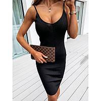 Женское облегающее платье в рубчик на тонких бретельках, фото 1