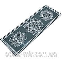 Коврик для йоги и фитнеса PVC двухслойный 4мм SP-Planeta FLOWER FI-0179 цвета в ассортименте, Черный