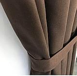 Комплект штор на тесьме с тюлем Шторы микровелюр + тюль шифон 400х270  Шторы с подхватами Цвет Шоколадный, фото 3