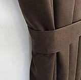 Комплект штор на тесьме с тюлем Шторы микровелюр + тюль шифон 400х270  Шторы с подхватами Цвет Шоколадный, фото 4