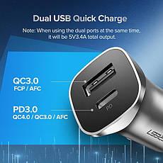 Автомобільний зарядний пристрій UGREEN CD130 Dual USB QC4.0 PD 3.0 24W, фото 3