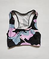 Спортивный детский топ для девочки на объем под грудью от 60 до 70 см Черный + розовый