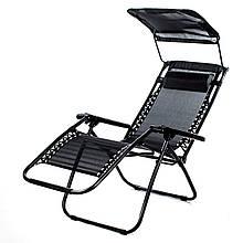 Пляжный шезлонг с козырьком раскладной с подголовником туристическое кресло лежак садовый черный