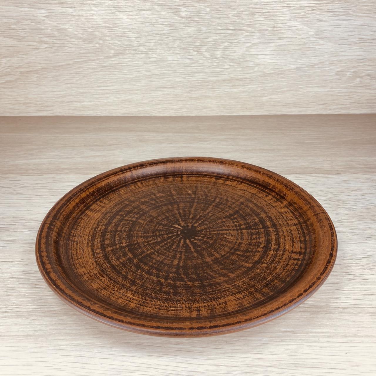 Тарілка з червоної глини велика, діаметр 25 см