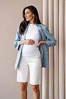 Довгі джинсові шорти для вагітних 4313492 молочні