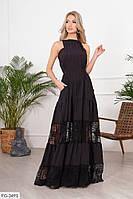Довге красиве жіноче плаття-сарафан кльош від талії на бретельках з кишенями р-ри 42-46 арт. 1170