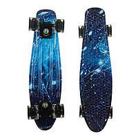 Пенниборд скейт двусторонний скейтборд Penny Board светящиеся колёса