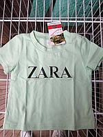 Детская футболка трикотажная ZARA для девочек 2-5 лет,цвет бирюзовый