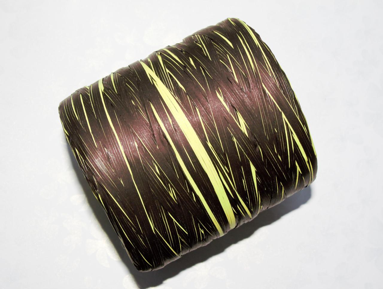 Рафия искусственная Черно-салатовая 10м