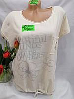 Жіноча трикотажна футболка рванка з написами розмір 50-56, колір уточнюйте при замовленні, фото 1
