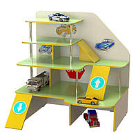 Стенка Паркинг для дома и детских садов с игровыми элементами и полками для игрушек и машинок 120х91х126 см