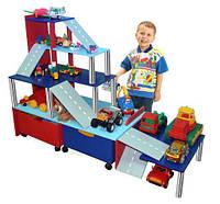 Стенка Паркинг для дома и детских садов с ящиками для кубиков, полками для игрушек и машинок 120х91х126 см