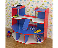 Стенка Гараж для детских садов с игровыми элементами и полками для хранения игрушек и машинок 123х71х101 см