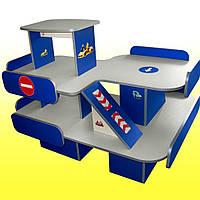 Стенка Автосалон для детских садов с игровыми элементами и полками для хранения игрушек и машинок 123х97х95