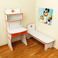 Игровая Стенка Больница для детсадов: медицинский стол с полками и кушеткой для сюжетных игр 100х120х125 см
