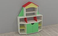 Игровая Стенка Книжный дом для детских садов с полками для книг и пособий, ящиками для игрушек 120х42х150 см