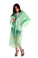 Плащ дощовик на блискавці 60мкм Зелений 107*80 см, дощовик туристичний | плащ дождевик