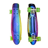 Пенниборд скейт скейтборд хамелеон двусторонний Penny Board светящиеся колёса