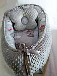 Кокон ( позиционер , гнездышко)   для новорожденных Желто - серый + подушечка ортопедическая плюш бязь, фото 4