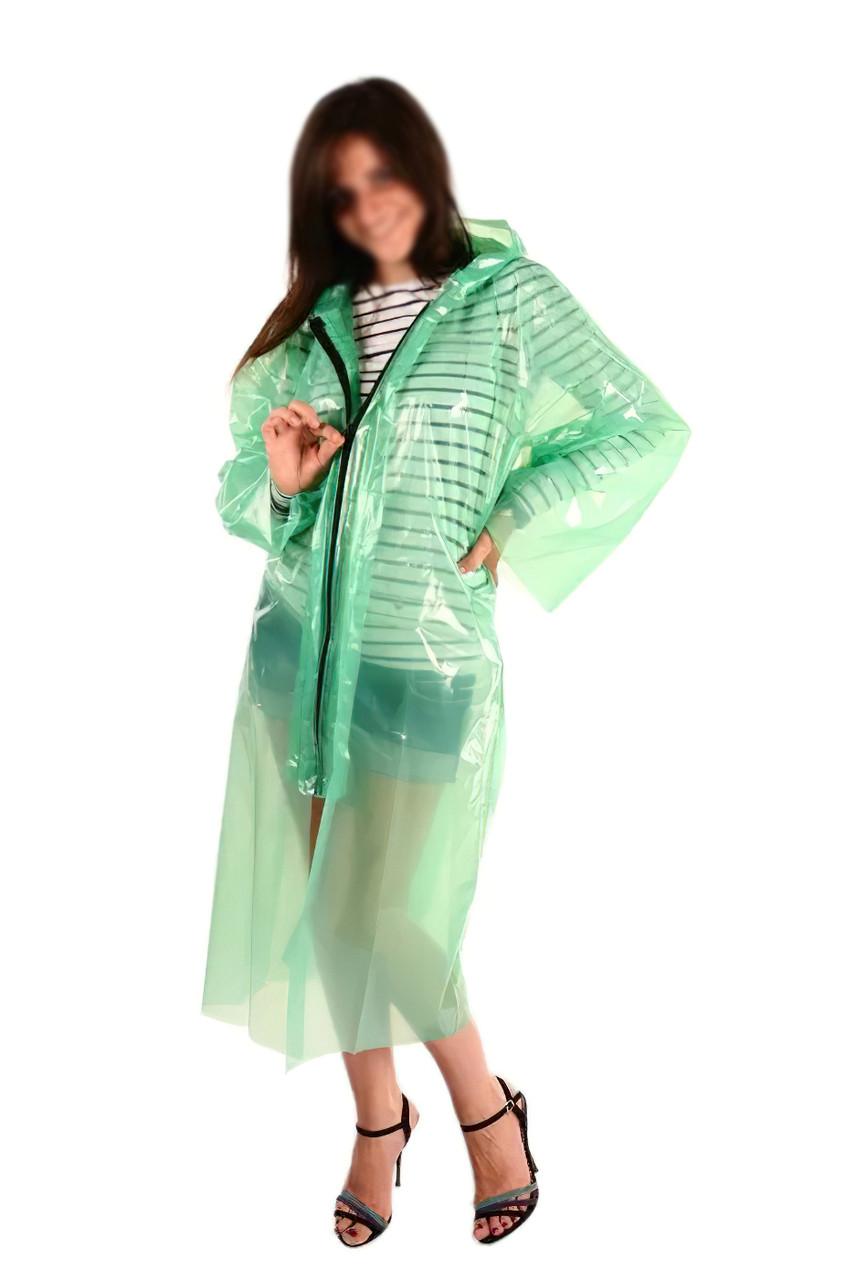 Плащ дощовик на блискавці 60мкм Зелений 107*80 см, дощовик туристичний   плащ дождевик