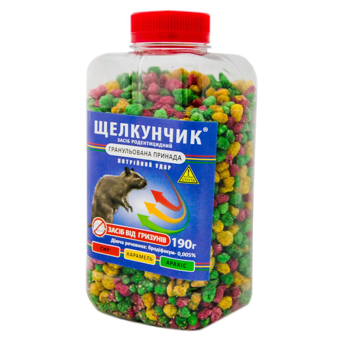 """Гранули потрійний удар """"Щелкунчик"""" ротендицит, отрута для гризунів, засіб від щурів, мишей (отрава для мышей)"""