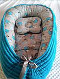 Кокон ( позиционер , гнездышко)   для новорожденных Желто - серый + подушечка ортопедическая плюш бязь, фото 5