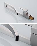 Змішувач дизайнерський для раковини, одноважільний кран горизонтальний монтаж WanFan для ванни Нікель, фото 4