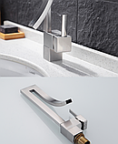 Змішувач дизайнерський для раковини, одноважільний кран горизонтальний монтаж WanFan для ванни Нікель, фото 5