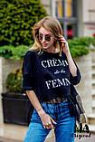 Женская футболка норма коттоновая короткая с фатином, разные цвета, р.единый 42-46, код 3-204G, фото 3