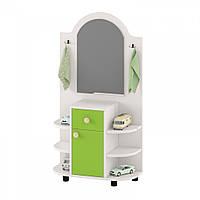 Уголок дежурного с зеркалом, шкафчиком, открытыми полками для детских садов из ДСП 70х30х130см салатовый 63733