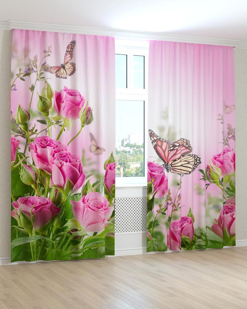 Фотошторы рожеві троянди і метелики