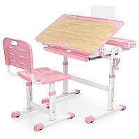 Парта детская со стульчиком, выдвижным ящичком, высота регулируется, розовая