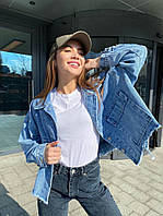 Жіноча коротка джинсова куртка з необработным краєм