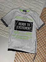 Стильная футболка для мальчика сбоку на молнии рост 134