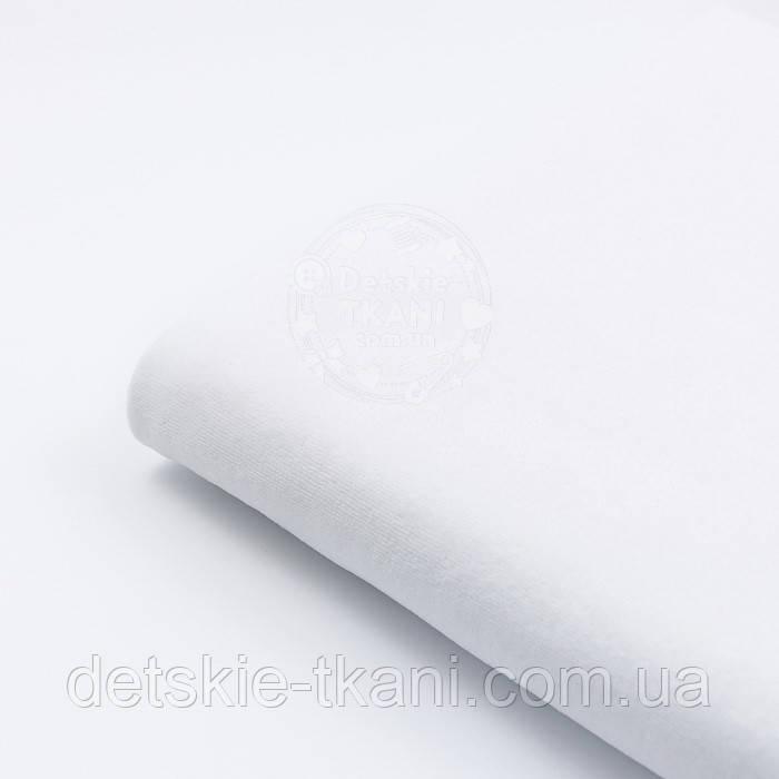 Лоскут Х/Б велюра белого цвета (№ 8000), размер 47*180 см