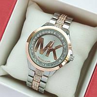 Женские наручные часы Michael Kors серебро-розовое золото, с камушками под стеклом и на браслете - код 1994, фото 1