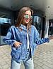 Жіноча стильна джинсова куртка з накладними кишенями