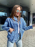 Жіноча стильна джинсова куртка з накладними кишенями, фото 1