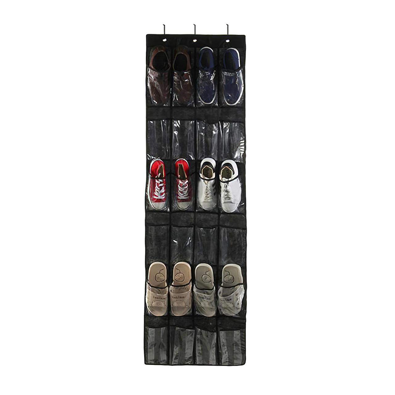 Органайзер для обуви на дверь Черный 148*45 см 24 кармана, органайзер для тапочек   органайзер для взуття (GK)