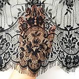 Ажурне французьке мереживо шантильї (з віями) чорного кольору шириною 44 см, довжина купона 3,0 м., фото 4