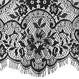 Ажурне французьке мереживо шантильї (з віями) чорного кольору шириною 44 см, довжина купона 3,0 м., фото 5