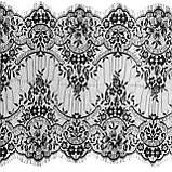 Ажурне французьке мереживо шантильї (з віями) чорного кольору шириною 44 см, довжина купона 3,0 м., фото 6