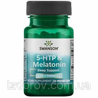 Swanson, 5 НТР + Мелатонін, 30 рослинних капсул