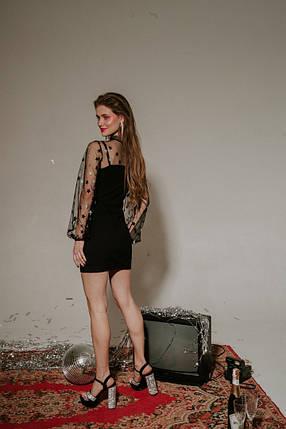 """Ошатне комбіноване плаття-футляр """"Анастасія"""" з сіткою в горошок (2 кольори), фото 2"""